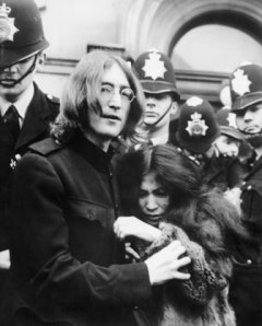 John Lennon and Yoko Ono After Drug Hearing