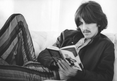 george_harrison, reading, striped pants, lounging